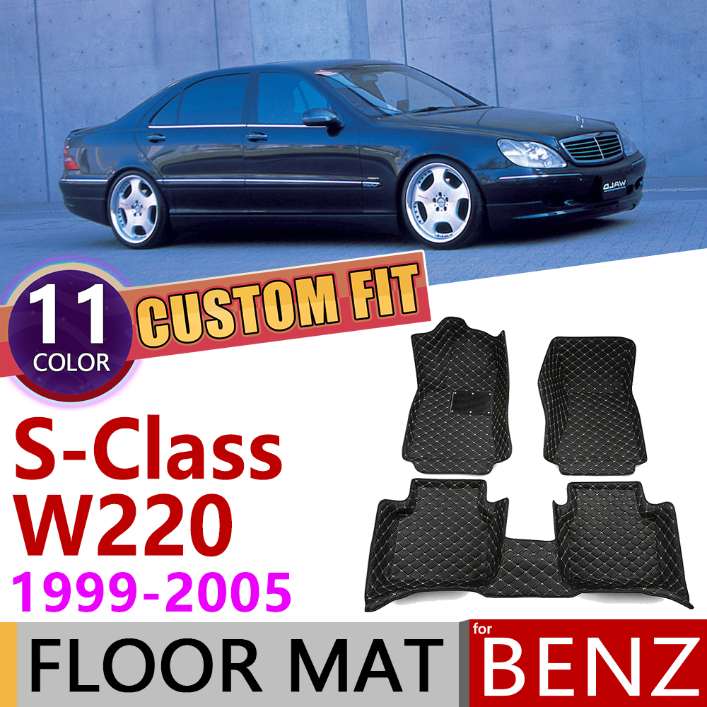 Custom Leather Car Floor Mats For Mercedes Benz S Class W220 1999~2005 5 Seats Foot Pad Carpet Accessories S280 320 350 500 2000