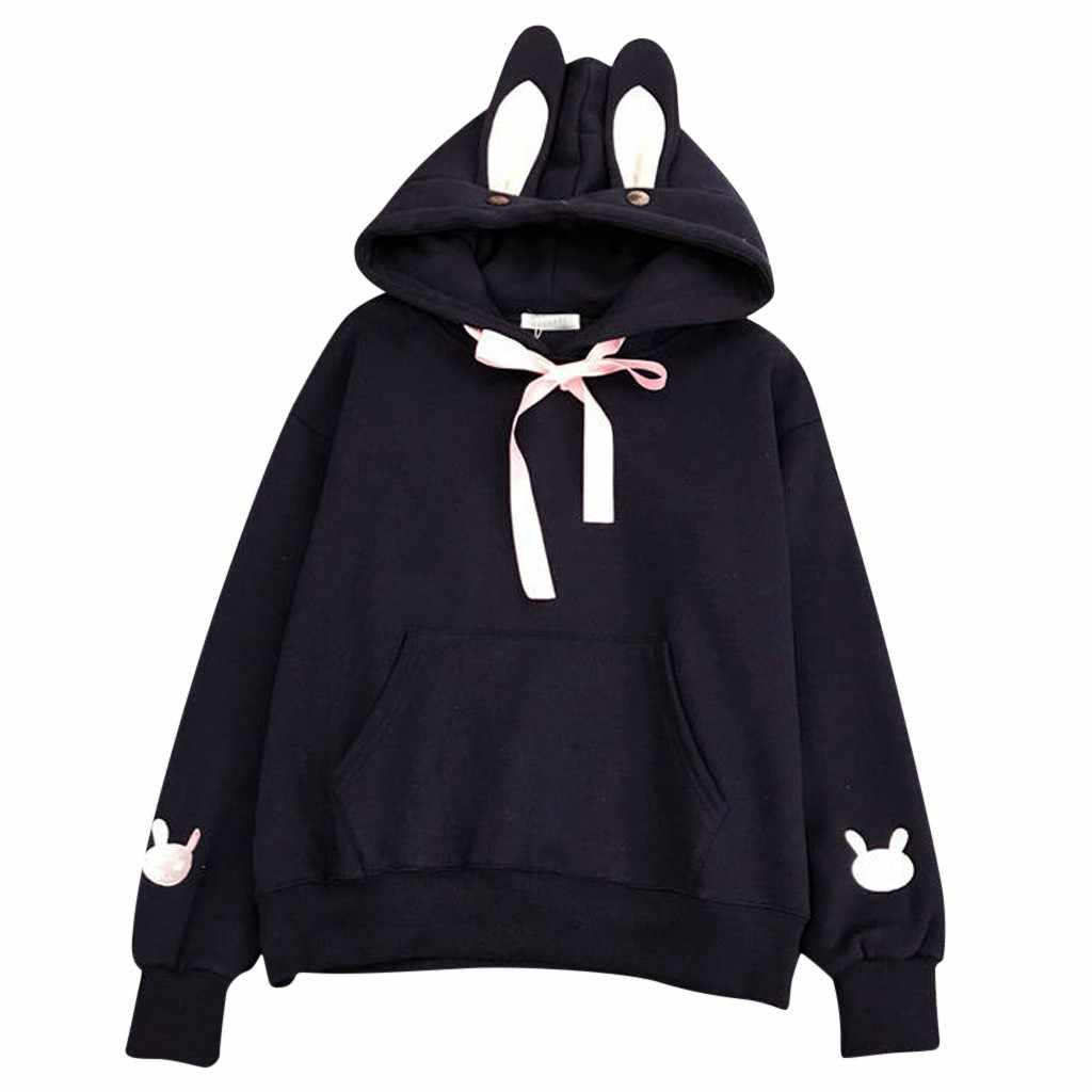 Kawaii Harajuku Khoác Hoodie Nữ Tai Thỏ Tai Hoody Áo Dạo Phố Mùa Thu Đông Ấm Nỉ Có Mũ Áo Thun Cổ Cao Cấp # L30