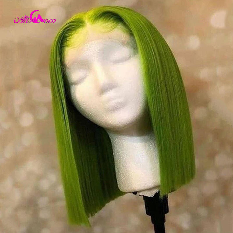 Ali Coco 150% Green Lace Front Human Hair Wigs Pre-Plucked 13x4/13x6 613 Blonde Short Bob Wigs For Women Pink Straight Ombre Wig