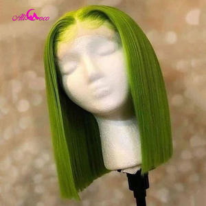 Blonde Wigs Short Bob Human-Hair Lace-Front Pink Straight Green Women 13x4/13x6 Ali-Coco