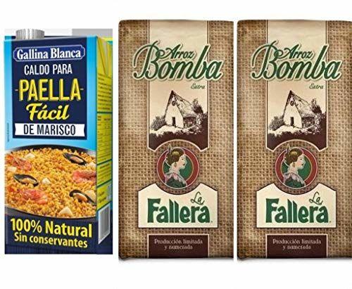 2kg Original Bomba Paella Reis Valencia Aus Spanien La Fallera + 1000ml Paella Brühe Gallina Blanca