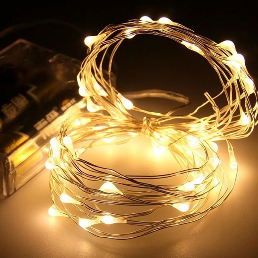 2M 20 LED Colorful LED Starry String Lamp Fairy LEDs Copper Wire Battery Decoration Warm Holiday Wedding Light For Christmas