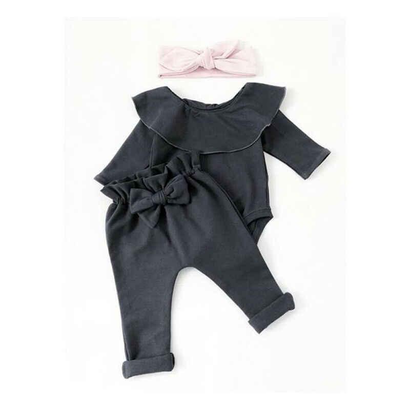2Pcs เด็กวัยหัดเดินเด็กทารกเด็กสาว Ruffle Bodysuit Romper TOP Solid Bowknot กางเกงกางเกงฤดูใบไม้ร่วงผ้าฝ้ายแขนยาวชุดเสื้อผ้าชุด