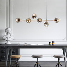 New Modern Creative Design Glass Ball Molecular Led Chandelier Simple Gold Black Iron Art Hanging Light Dining Room Light E27