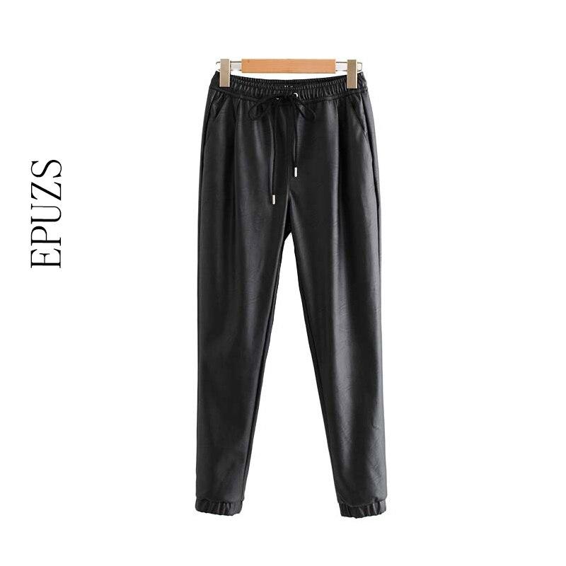 Pantalones elásticos de invierno de cintura alta para mujer pantalones negros de cuero pu pantalones harem para mujer pantalones de correr pantalones de lápiz streetwear pantalon Mujer