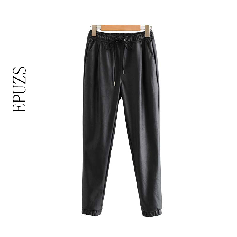 Winter Elastic High Waist Pant Women Black Pu Leather Pants Women Harem Pants Joggers Pencil Trousers Streetwear Pantalon Femme