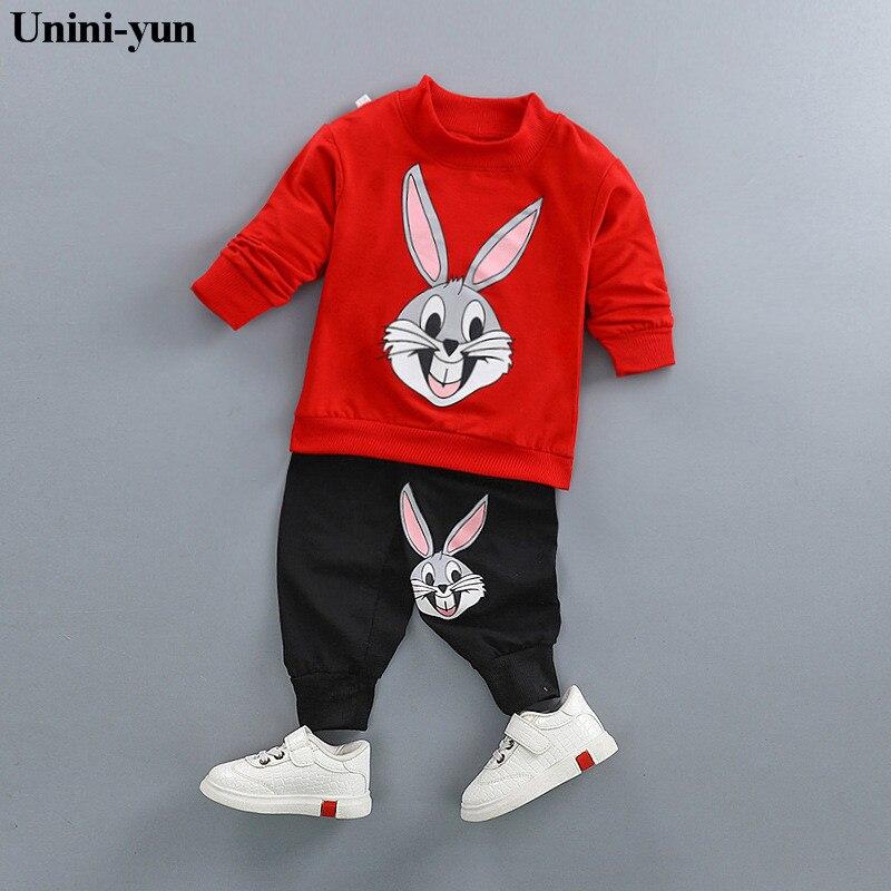 Unini-yun Baby Girls Clothing Set Cartoon Rabbit Print 2018 Winter Autumn Children Clothing Casual Tracksuits Kids Clothes Girls