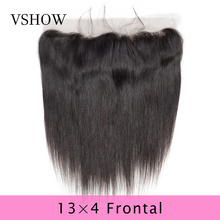 VSHOW 13X4 Pre Plucked Straight Lace Frontal Closure Natural Color Swiss Lace 100% Remy Human Hair Peruvian Lace Frontal Closure