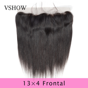 VSHOW 13X4 Pre Plucked Straight Lace Frontal Closure Natural Color Swiss Lace 100% Remy Human Hair Peruvian Lace Frontal Closure(China)