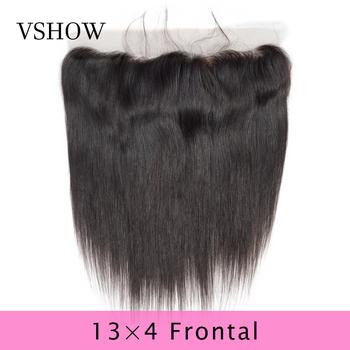 VSHOW 13X4 wstępnie oskubane proste koronkowe przednie zamknięcie Natural Color szwajcarska koronka 100 Remy ludzkie włosy peruwiański koronkowe przednie zamknięcie tanie i dobre opinie V SHOW Remy włosy CN (pochodzenie) 13 x 4 130 Peruwiański włosów Ręka wiążący Swiss koronki Średni brąz Pure color