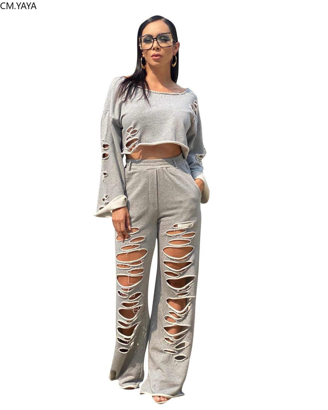 ซม.YAYAฤดูใบไม้ร่วงHollow Outผู้หญิงเสื้อแขนยาวกางเกงชุดสวมใส่ชุดสองชิ้นฟิตเนสชุด