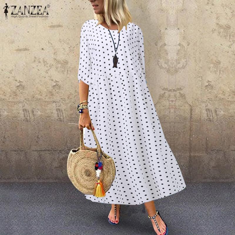 Women's Autumn Sundress ZANZEA 2020 Elegant Printed Maxi Dress Fashion Polka Dot Tunic Vestidos Female 3/4 Sleeve Robe Femme
