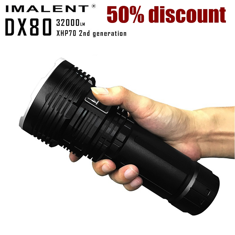 IMALENT DX80 8 * CREE XHP70 LED Search Flashlight Max 32000 Lumen High Light Beam Distance 806 Meters With Rechargeable Battery