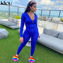 Kliou autumn two piece set women long sleeve hooded zipper pocket sporty Jackets+leggings matching sets workout stretchy outfits