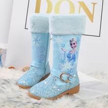 Disney outono inverno congelado novas meninas botas menina princesa elsa botas mais veludo quente crianças botas de neve