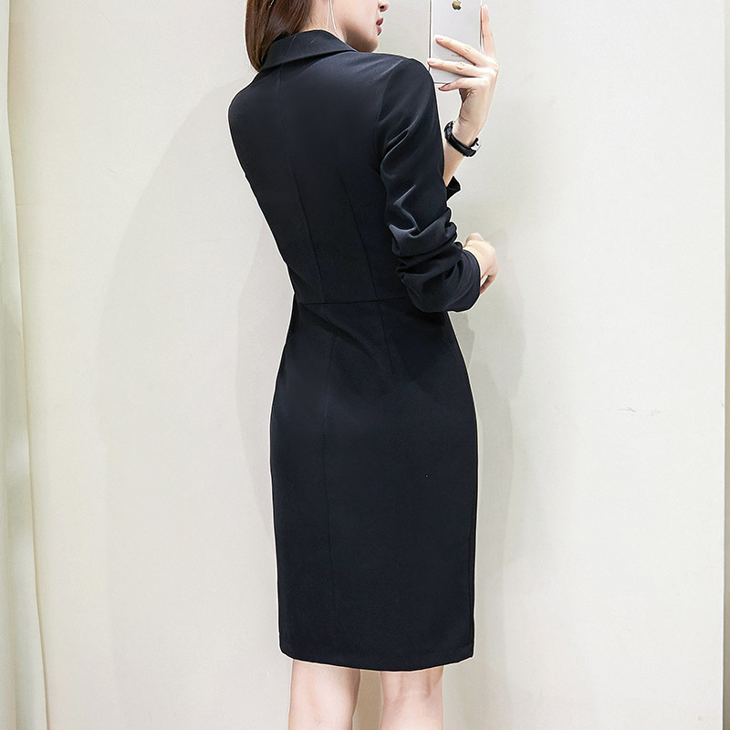 robe blazer 2019Double-Breasted Women'S Dress Suit Long Black Work Women Blazer Dress Plus Size 4xl 5xl Womens Work Blazer Dress