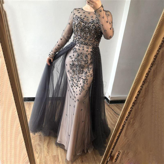 Eightree Full Sleeves Mermaid Evening Dresses Sheer Neck Beads Sequins Prom Dress Tulle Mother Of The Bride Wedding Party Gowns