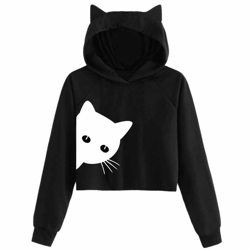 Cat Print Long Sleeve Pullover for Women Hoodie Women Cat Ear Hooded Crops Sweatshirt Tops Woman Long Sleeve Blouses Autumn Winter Knitted Pullover Outwear