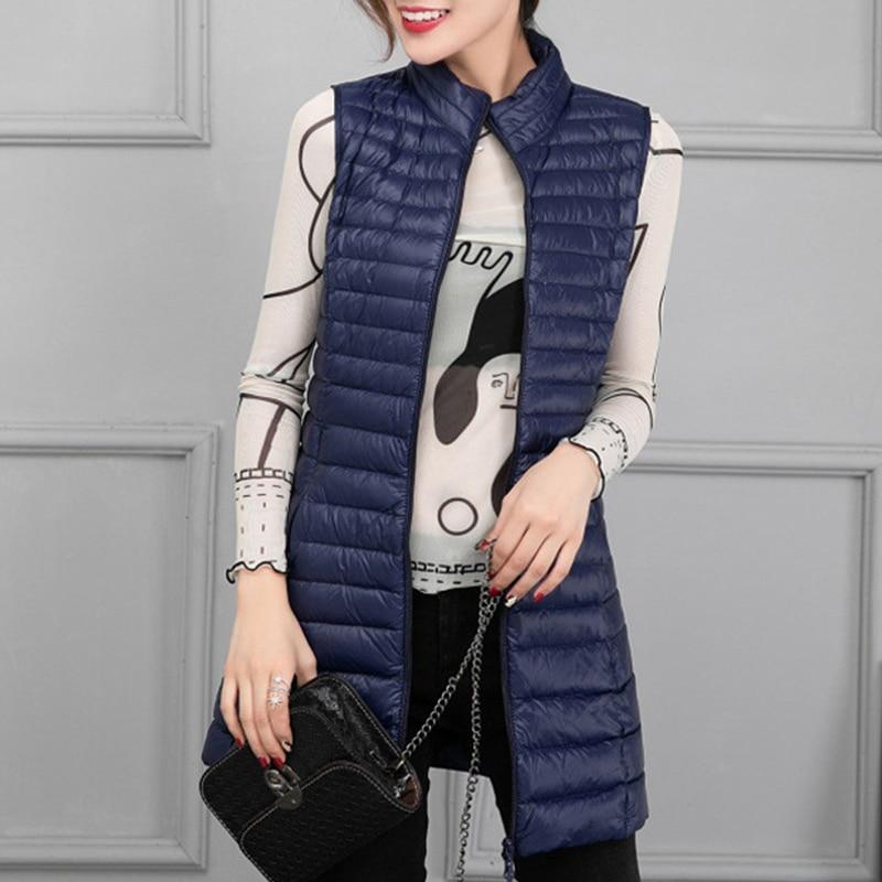 Winter   Down   Vest Women 2019 New Korean Slim Fashion Duck   Down   Vests Female Casual Warm Wild Stand Collar Ladies   Coat   3XL 4XL
