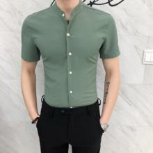 Męskie czarne koszule z krótkim rękawem letnie białe ubranie koszule hawajskie koszule Slim Fit męskie zapinana na zielony stojak kołnierz 2020 tanie tanio Włókno poliestrowe Skręcić w dół kołnierz Pojedyncze piersi REGULAR Suknem Na co dzień Stałe Green