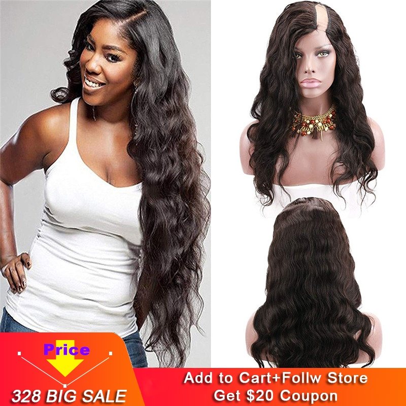 Eseewigs Body Wave U Part Wig Human Hair Brazilian Remy Hair Wigs For Black Women Left 1x4 Inch Natural Color With Clips Combs
