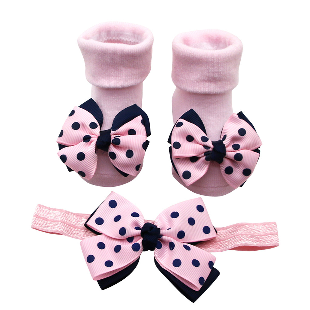 Baby Girl Socks Baby Anti-slip Socks Winter  Socks For Newborns Solid Warm Cute Socks +1pc Hair Belt Toddler Girls Bow