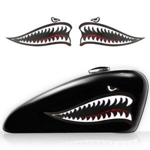 Image 2 - Adesivo de vinil para dentes de tubarão, adesivo para decalques de motocicleta harley sportster xl883 xl1200 iron 48 72 universal