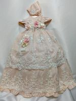 Champagne Baby Girls Long Christening Gown Infant Toddler Girls Baptism Dress with Bonnet Newborn With Floral Applique