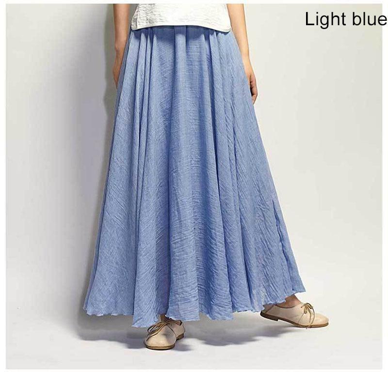 Women's Elegant High Waist Linen Maxi Skirt 2021 Summer Ladies Casual Elastic Waist 2 Layers Skirts saia feminina 20 Colors SK53 6