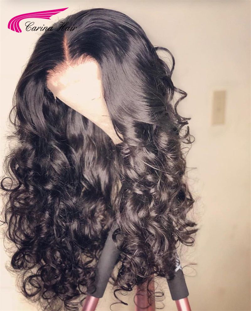 Carina Brazilian Wavy Lace Front Wigs With Baby Hair 13*4 Remy Human Hair Pre-Plucked Hairline Glueless Wigs