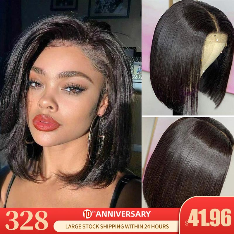 Remyblue 13*4 Bob Lace Front Wigs Short Bob Wigs Peruvian Lace Front Human Hair Wigs Straight Remy Hair Pre Plucked Hairline 150
