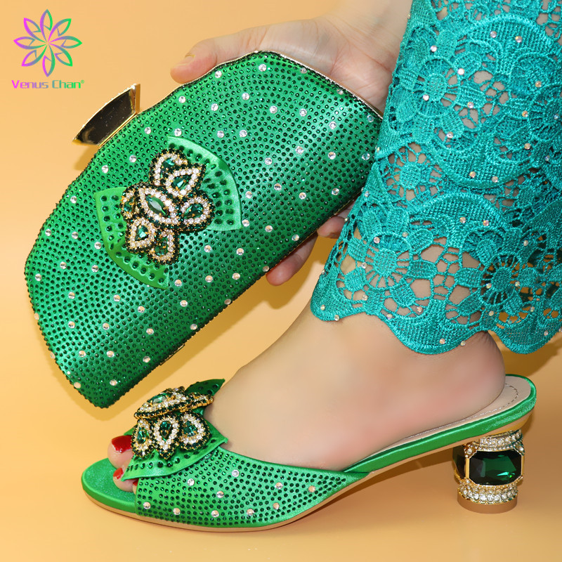 Italian Shoes With Matching Bags Set Italy African Women's Party Shoes and Bag Sets green Color Women shoes