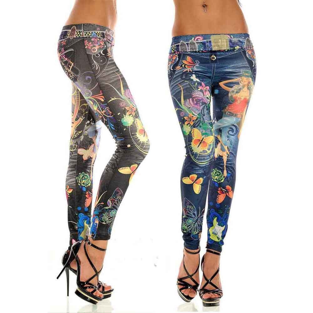 Woman Jeans High Waist 2019 NEW Sexy Womens Skinny Blue Butterflies Flowers Printed Jean Denim Leggings Stretchy High Waist 9.18