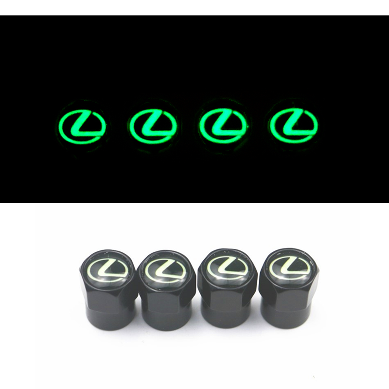 Luminous Car-Styling 4pcs Car Valve Caps Emblems Case For Lexus RX300 RX450 IS200 IS250 IS300 GS300 Auto Wheel Tire Valve Cover
