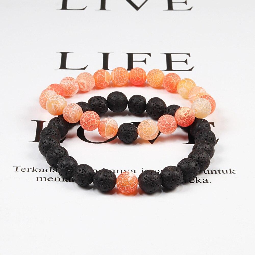 Couple Bracelet Natural 8MM Black Lava Weathered Stone Women Elastic Onyx Beaded Bracelets Bangles Men Bileklik Distance Jewelry