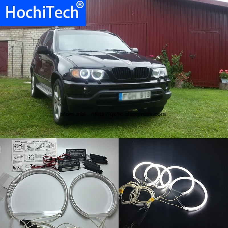 HochiTech For Bmw <font><b>E53</b></font> <font><b>X5</b></font> 1999-<font><b>2004</b></font> Ultra Bright Day Light DRL CCFL Angel Eyes Demon Eyes Kit Warm White Halo Ring 127.5mm&158mm image