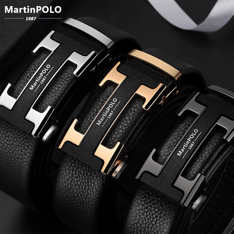 MartinPOLO Genuine Leather Belt Men Luxury Cowskin Strap Belt For Business H Alloy Automatic Buckle Belts Fashion Casual MP2801P