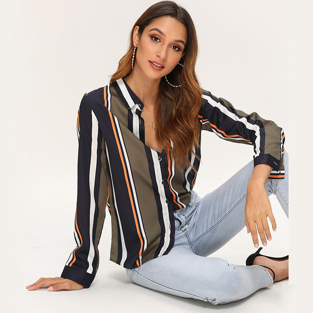 Blouses Women 2020 Leisure Long Sleeve Striped Shirt Turn Down Collar Lady Office Shirt Autumn Blouse Top Blusas Mujer Plus Size 2
