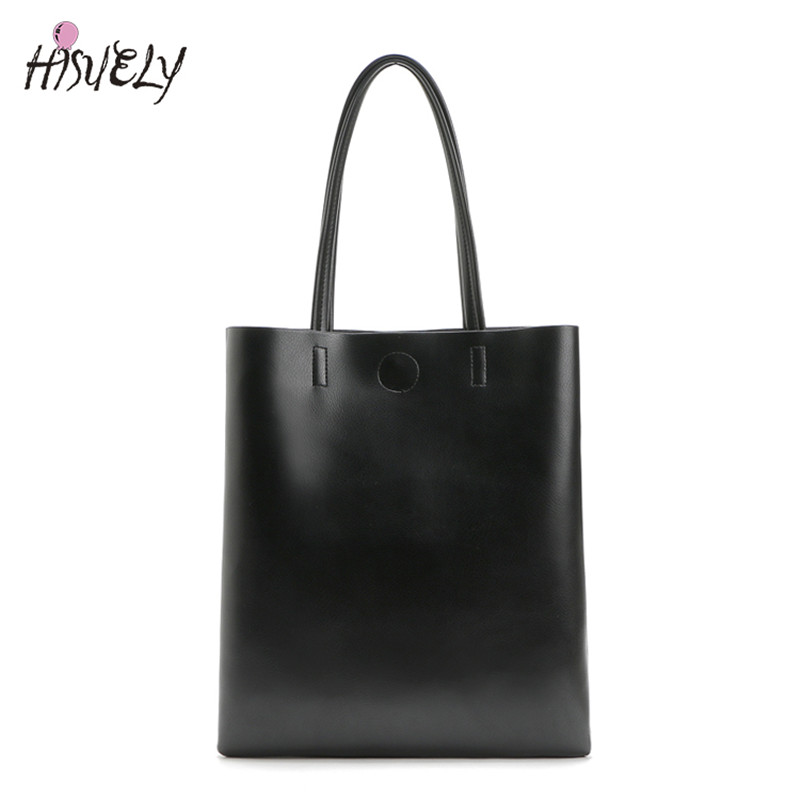 2020 New Fashion Women Leather Handbag Shoulder Bags Black Large Capacity Luxury Tote Bags Design Causal Bucket High Quality