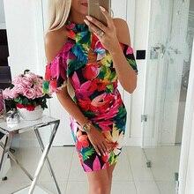 Женское платье с цветочным рисунком, бохо, облегающее, короткое, мини платье, сексуальное, элегантное, для девушек, летнее, Пляжное, повседневное, сарафан, праздничное, женское платье