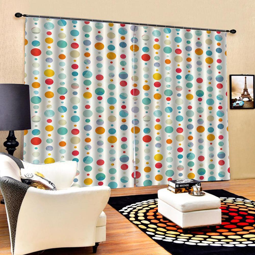 Абстрактные забавные красочные акварельные круглые занавески s индивидуальные занавески для Спальни Ткань для детской комнаты шторы Декор