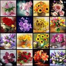 Florero de diamante 5D DIY, arreglo de flores, punto de cruz, mosaico bordado de diamantes, decoración del hogar