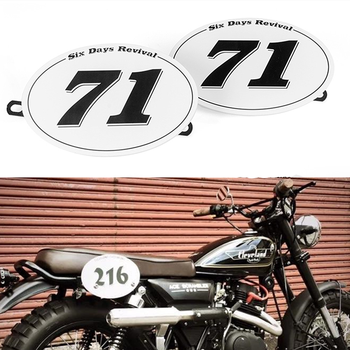 "x2 Table NUMBER PLATE for MOTO CAFE RACER tracker scrambler  /""71/"""