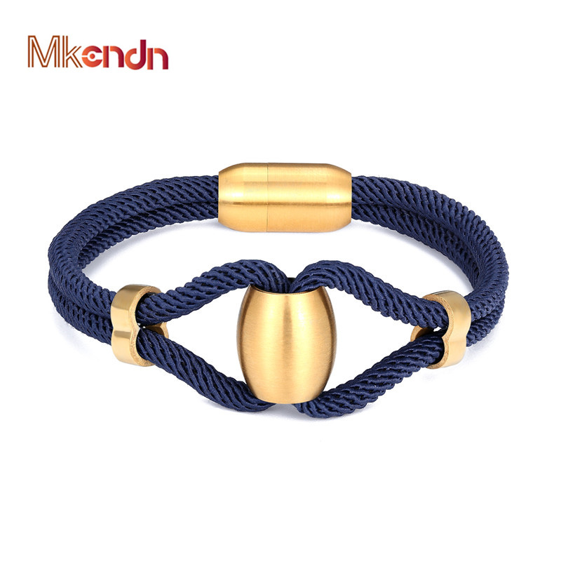 MKENDN New Fashion Camping Parachute Cord Navy Style Survival Infinity Bracelet Men Women Stainless Steel Magnetic Clasp