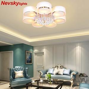 Image 1 - Plafonnier led en cristal, design moderne, design à la mode, luminaire de plafond interchangeable, abat jour blanc, idéal pour une chambre à coucher, une salle à manger ou une chambre à coucher