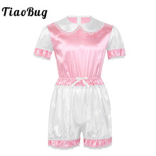 Hot Sexy Men Crossdressing Sissy Dress Silky Satin Short Puff Sleeves Lace Trim Romper Bodysuit Adult Baby Cross Dresser Costume