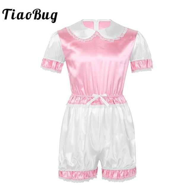 Hot Sexy Men Crossdressing Sissy Dress Silky Satin Short Puff Sleeves Lace Trim Romper Bodysuit Adult Baby Cross Dresser Costume