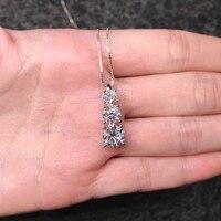 BOEYCJR 925 Silver D color Elegant 3 Moissanite VVS Engagement Wedding Pendant Necklace for Women Anniversary Gift