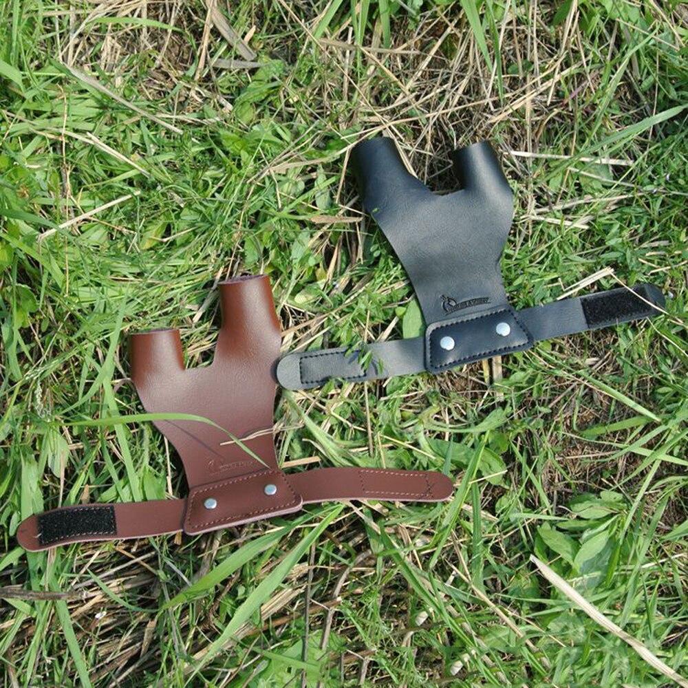 Schwarz/Braun 2 Finger Hand Protektoren Links und Rechts Bogenschießen Finger Schutz Kuh Leder Hand Für Verbindung Bogen Jagd zubehör