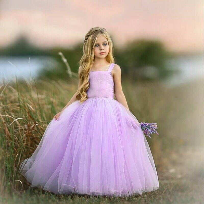 Girl Dresses Flower Tutu Party Princess Dress Formal Bridesmaid Kid Wedding Baby